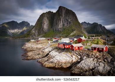 Traditional Norwegian Fisherman's Cabins Rorbuer, on the Island of Hamnoy, Lofoten
