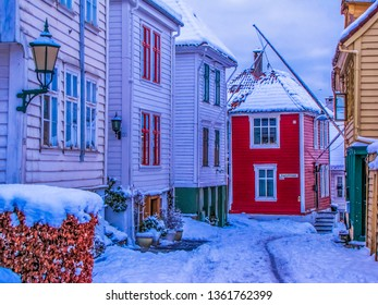 """Traditional Norwegian wooden houses on Dragefjellstrappen (""""Dragon Mountain Stairs"""") in Bergen, Norway"""