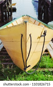 Traditional Nova Scotian dory boat on a boat ramp.