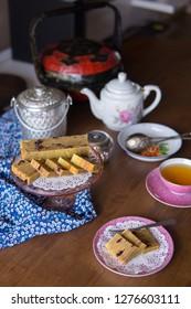 "Traditional nyonya layer cake its call it ""kek lapis nyonya"" to serve on hi tea time"