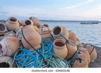 Traditional octopus pots and fishing tackle in Portugal