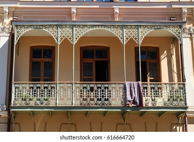 Traditional old balcony of house on Agmashenebeli Avenue in Tbilisi. Georgia.