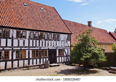 Traditional old danish half-timbered house in the center of Aarhus, jutland in Denmark