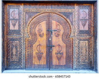 Traditional old decorated door in Agadir city, Morocco