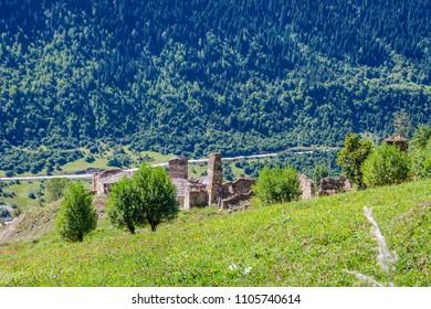 Traditional old georgian towers in Svaneti, Georgia