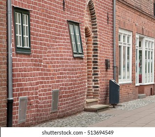 Traditional old german houses in Luneburg, Germany. Fragment sticking out of the facade.