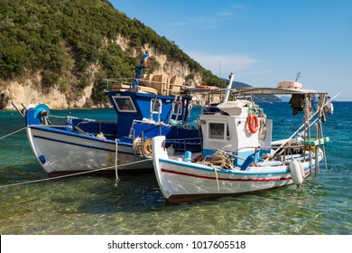 Traditional old Greek fishing boats