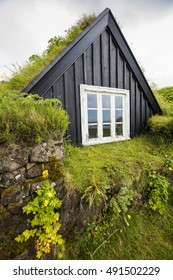 traditional old house in Iceland with grass roof
