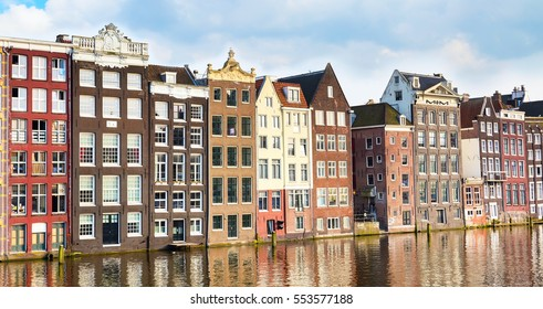Traditional old houses, canal view in Amsterdam, Netherlands
