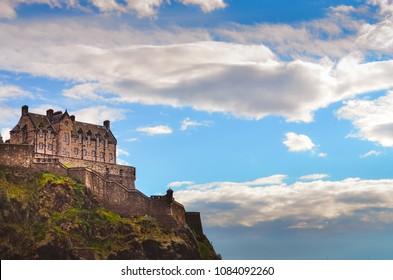 Traditional old houses at Edinburgh castle, Scotland, United Kingdom