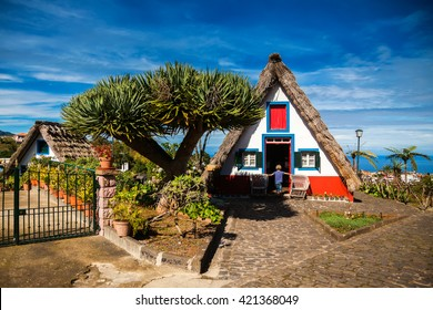 traditional old Madeira house, built of wood and thatched with straw