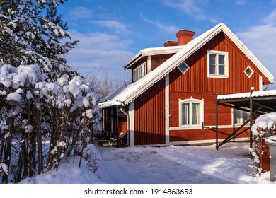 Traditional old red wooden houses in countryside. Decorative shrub around the house. Fence or hedge covered with snow in the foreground. Evergreen trees grow in the yard. Beautiful red cottage, villa.