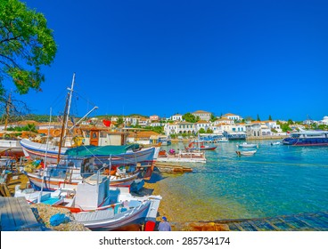 traditional old shipyard in Spetses island in Greece