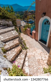 Traditional old street in Assos village. Kefalonia Island. Greece. Beautiful Nature cityscape
