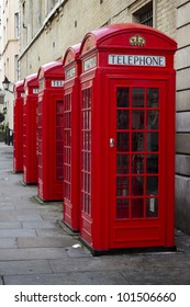 Traditional old style UK red phone boxes in Covent Garden, Londo