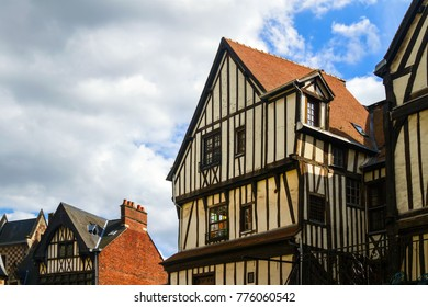 Traditional old  timber framing  houses.   Rouen, France
