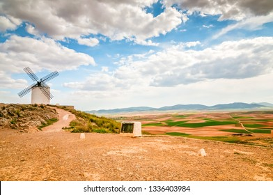 Traditional old white windmill in Consuegra, Toledo, Spain