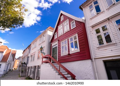 Traditional old wooden houses on the hillside in the old part of Bergen town, Norway