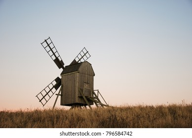 Traditional old wooden windmill at the swedish island Oland in the Baltic Sea