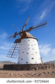 Traditional older style windmill (molino) close to El Cotillo Village in La Oliva municipality  of Fuerteventura, Canary Islands