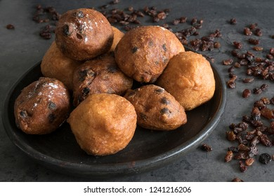 traditional oliebollen, oil dumpling or fritter, for Dutch New Year's Eve