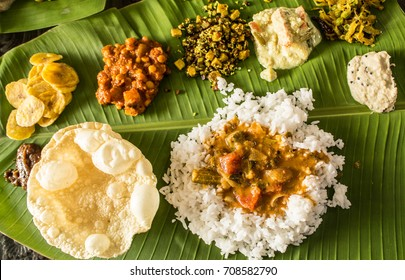 Traditional Onam festival food spread