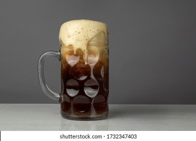 Traditional One Liter Glass Beer Mug with Foam