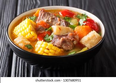 Traditionelles Bio-Fleisch Eintopf Suppe mit Gemüse, Nahaufnahme in einer Schüssel auf dem Tisch. horizontal