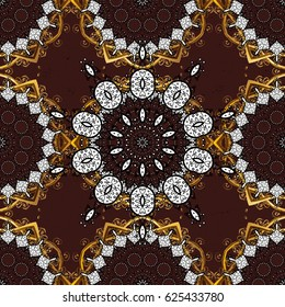 Traditional orient ornament. Classic golden pattern. Golden pattern on brown background with golden elements. Classic vintage background.