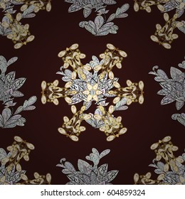 Traditional orient ornament, classic vintage background. Seamless pattern on brown background with golden elements. Seamless classic golden pattern.