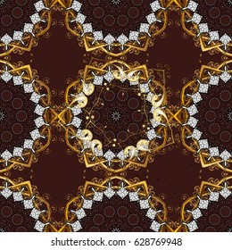 Traditional orient ornament. Classic vintage background. Classic golden pattern. Golden pattern on brown background with golden elements.