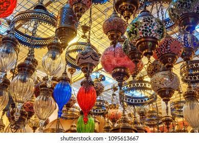 Traditional oriental colourful lamps lanterns. . Baku. Azerbaijan