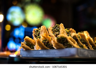 Traditional oriental dessert baklava with pistachios and walnuts