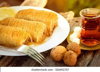 Traditional oriental dessert with syrup
