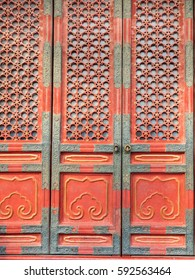 Traditional oriental doors with characteristic design elements.