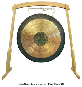 Traditional oriental gong isolated on white background