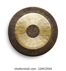 Traditional oriental gong on white background, front view