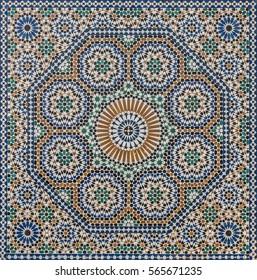 Traditional oriental Moroccan mosaic, Meknes, Morocco