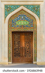 Traditional Oriental Tiles in the moscue and door, handmade art