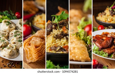 Traditional oriental, Uzbek cuisine, salad, chuchvara, pilaf, manti, a set of dishes made in one set