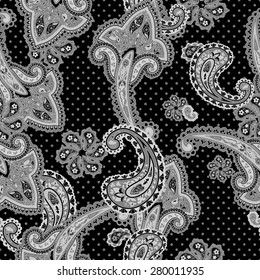 Traditional ornamental seamless background. Paisley design. Eastern style pattern