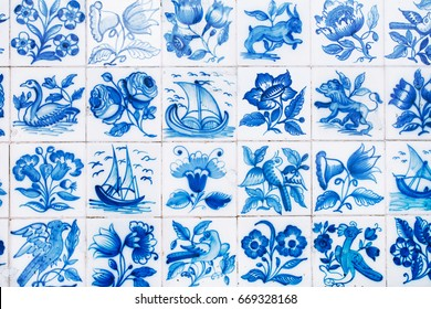 Traditional ornate portuguese decorative tiles azulejos. Abstract background.