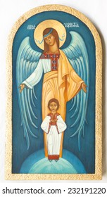 traditional orthodox icon from medieval or renaissance times made in tempera on wood