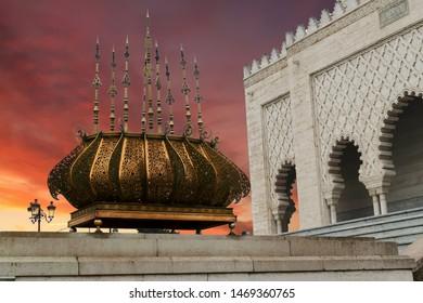 Traditional outdoor lighting urn, Mausoleum of  Mohammad V, Rabat, Morocco