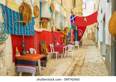 The traditional outdoor tea place with shishas on the tables, Sousse, Tunisia.