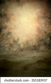 Traditional painted canvas or muslin fabric cloth studio backdrop or background, suitable for use with portraits, products and concepts. Dark green and peach colors with brighter center spot and floor