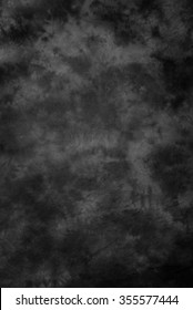 Traditional painted canvas or muslin fabric cloth studio backdrop or background, suitable for use with portraits, products and concepts. Black and gray mottled brush strokes.