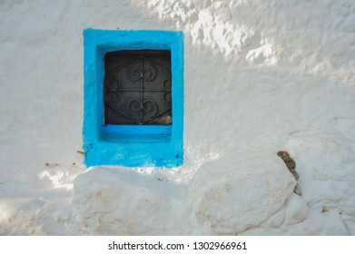 Traditional painting of a window in Kalymnos Island,Greece.This window was found in Saint Mammas church in Skalia Village in the North of the Island.
