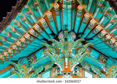 Traditional paintwork on wooden buildings, dancheong