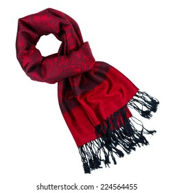 Traditional paisley pattern warm red cashmere pashmina isolated on white
